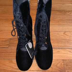 (Zara) Velvet Lace Up Booties